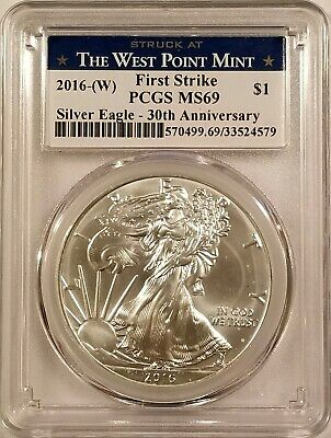 2016-W Silver American Eagle 1oz .999 Fine Silver PCGS MS69 - First Strike