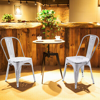 Iron Metal Dining Chair Stackable Side Chairs Bar Chairs with High Back Set of 2