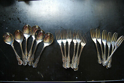 Vintage 1960's Rodd EPNS Cutlery 18 Desert Set Camille Design A1 Silver Plated