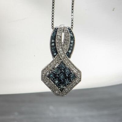 """Natural .42ctw Fancy Blue & H-SI Diamond 925 Sterling Silver Necklace 18"""""""