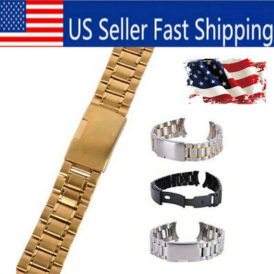 Men Metal Stainless Steel Watch Bracelet Band Clasp Replacement Wrist Watch Band