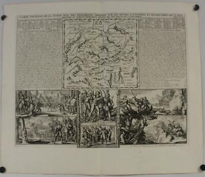 Switzerland 1719 Henri Abraham Chatelain Antique Original Copper Engraved Map