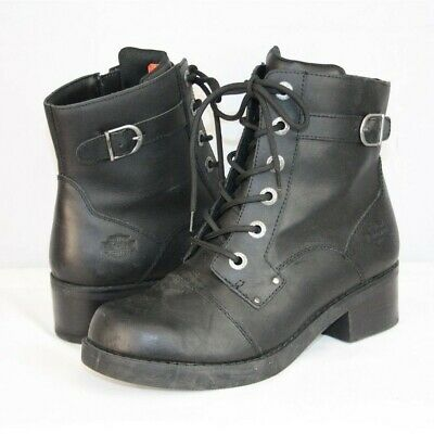 0314f32620ed Harley-Davidson Womens Black Leather Lace Up  Evie  Combat Motorcycle Boot  SZ 10