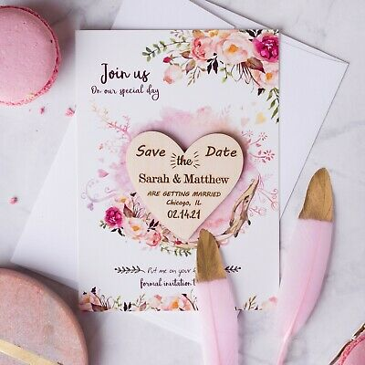 Save The Dates Cards Wedding Personalized Wooden Magnet Fridge Rustic10PCS