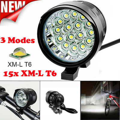 Rechargeable 15x 6000LM XM-L T6 LED Bike Light Headlight Lamp with Battery EU