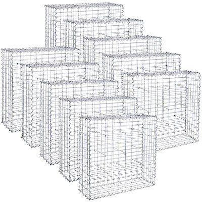 SONGMICS Gabion Stone Basket Retaining Wall Wire Cage Fench privacy Galvanized