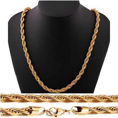 18K Real Gold Plated Stainless Steel Rope Link Chain Necklace Men Women Jewelry