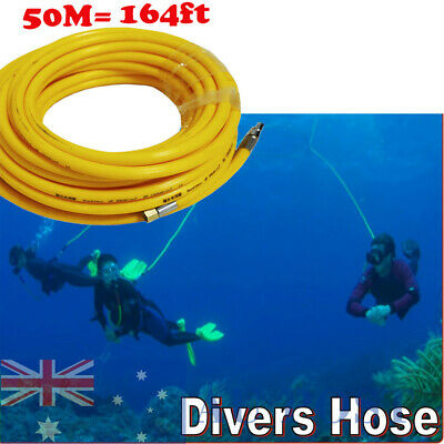 50m Scuba Hookah Stamped Air Breathing Dive Hose For Diving Industry Yellow AU