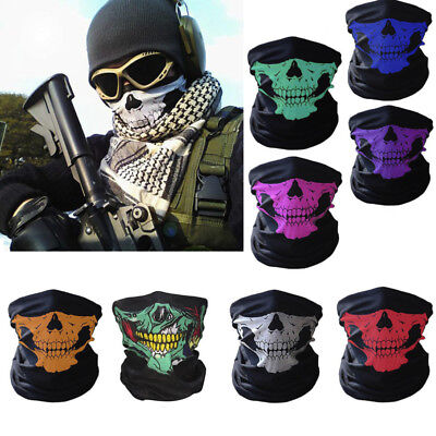 Bicycle Ski Skull Half Face Mask Ghost Scarf Multi Use Neck Warmer COD