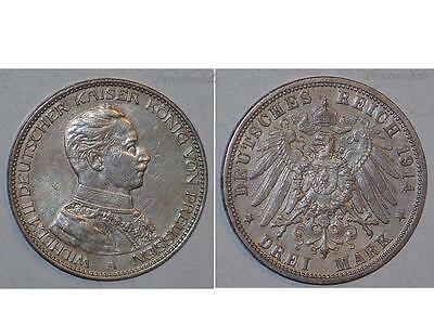 GErmany Prussia 3 Mark Coin 1914 A silver Kaiser Wilhelm II German Empire Reich