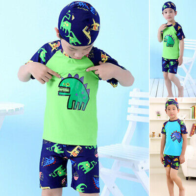 Kids boys Swimwear Swimsuit Child Baby Sun protect Clothes Dinosaur print 3pcs