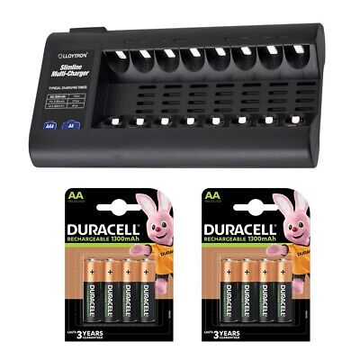 Lloytron 8 Bay Battery Charger with 8 Duracell AA 1300mAh Rechargeable Batteries