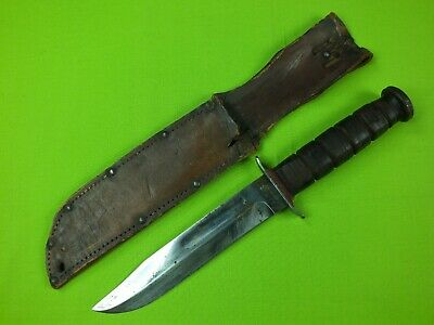 Wwii Ww2 Usmc Ka-Bar Ka Bar Olean Ny Red Spacer Fighting Knife Leather Sheath