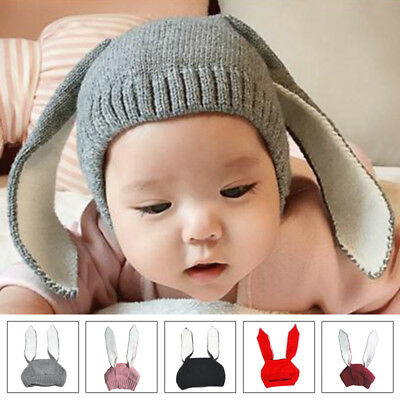 Lovely Baby Kids Boy Girl Knitted Rabbit Crochet Ear Beanie Hat Warm Outdoor Cap