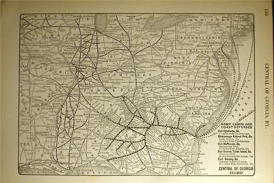 1925 Central Of Georgia Railway Ry Rr System Map Railroad Depot