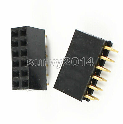 50PCS 2x6 12Pin 2.54mm Double Row Female Straight Header Pitch Socket Pin Strip
