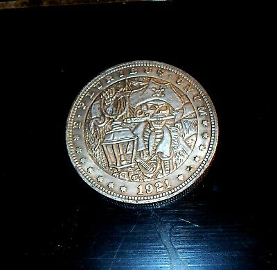 Forged 1921 Hobo Morgan Dollar Coin w/  Pirate Captain Skull and Lantern