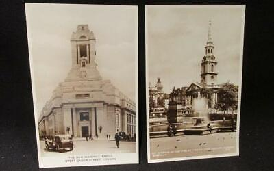 New Masonic Temple Great Queen St London & St Martin in Fields Vintage Postcards
