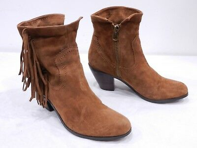 2c8432c9c6252a Sam Edelman Louie Womens 9 Brown Suede Fringe Side Zip Ankle Boots Booties
