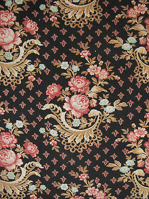 Antique French fabric c1880 Black Ground Floral Printed Rococo design textile