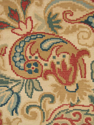 Antique Fabric French textile embroidered look printed floral c1890 earth tones