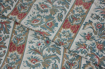 Fabric Antique French Art & Crafts period design cotton floral & stripe printed