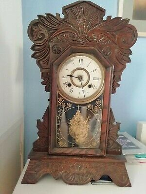 New Haven Clocks Co USA 8 Day Timer And Strike Gingerbread Mantle Clock Antique