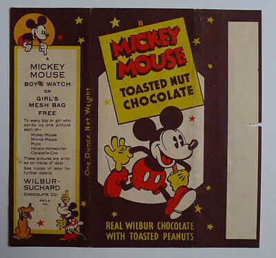1930's E-UNC Wilbur Chocolate Mickey Mouse wrapper Clarabelle Cow