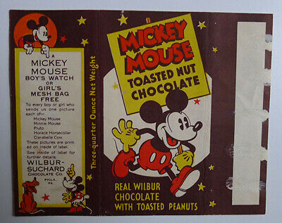 1930's E-UNC Wilbur Chocolate Mickey Mouse Small wrapper Clarabelle Cow