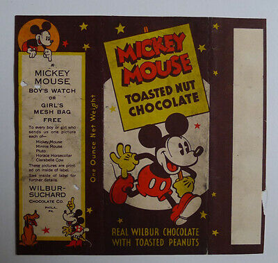 1930's E-UNC Wilbur Chocolate Mickey Mouse Large wrapper Pluto the pup