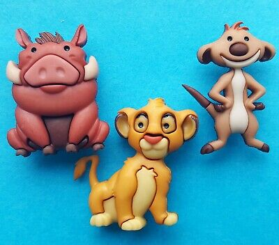 THE LION KING Disney Simba Timon Pumbaa Safari Dress It Up Novelty Craft Buttons
