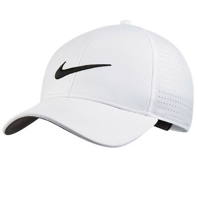 5a9a3d03ae1 Nike Golf AeroBill Legacy91 Perforated Adjustable Hat Cap White Black  75735