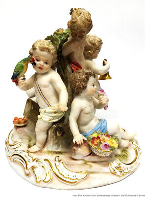Antique Signed Meissen Dated 1770 5.5in Porcelain Figural Group Cherub Statue