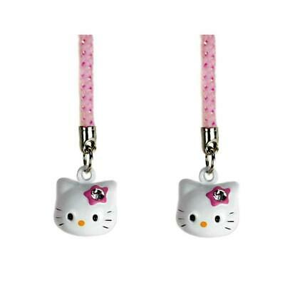 SET OF 2 HELLO KITTY BRASS BELL CHARMS Pink White Craft Mobile Cell Phone Strap