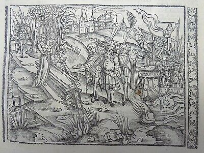1502 Grüninger Master original INCUNABULA WOODCUT Andromache in Chaonia AENEID 3