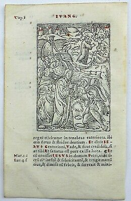 1541 Pierre REGNAULT - Rubricated woodcut leaf - Jesus Heals a Man With Leprosy