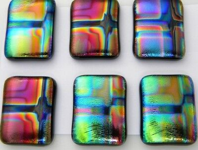 Lot 6 pcs RECTANGLE DICHROIC FUSED GLASS pendant (J15) CABOCHON HAND MADE