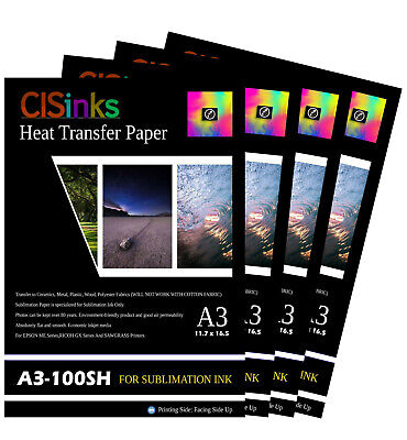 "400 sheet A3 11.7""x16.5""Inch 100gsm Thick Sublimation Inkjet Heat Transfer Paper"