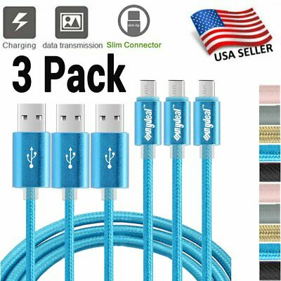 3 Pack 6Ft USB C Cable Heavy Duty For Samsung Galaxy S8 S9 S10 Charging Cord