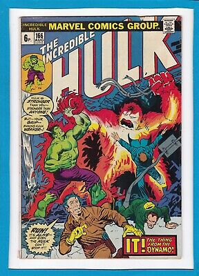 "Incredible Hulk #166_August 1973_Vg_Hawkeye_""it...the Thing From The Dynamo""_Uk!"