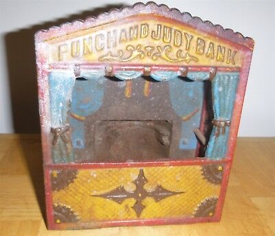 Punch And Judy Cast Iron Mechanical Bank for parts only age unknown see pics
