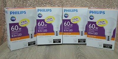 (4) Philips LED 4 Pack 60w Equivalent Soft White Light Bulbs Non-Dimmable A19