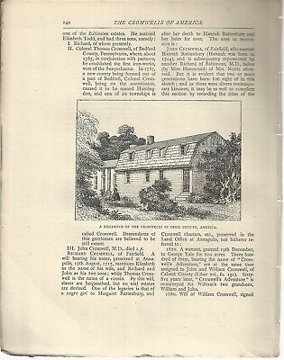 Cromwells of America Antiquary 1887 - 7 sides txt 2 plates Kentucky Cecil County