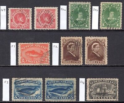 NEWFOUNDLAND 1887 New Colours/Values to 10c U., SG 49//54 cat £136