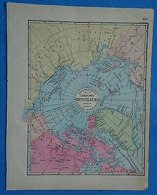 Vintage 1899 NORTH POLE Map ~ Old Antique Original Atlas Map 20819