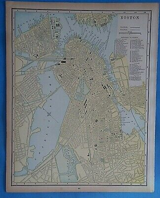Vintage 1898 BOSTON Map ~ Old Antique Original Atlas Map 20819