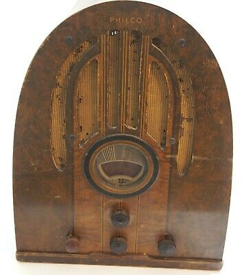 Vintage 1930's Philco Model 37-89 Tube Radio In Wooden Cathedral Cabinet Hummeer
