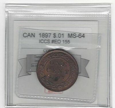 **1897**,Coin Mart Graded Canadian, Large One Cent, **MS-64**ICCS EO 155
