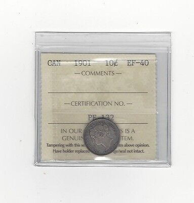 **1901**,ICCS  Graded Canadian,  10  Cent, **EF-40**