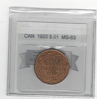**1920**,Coin Mart Graded Canadian, Large One Cent, **MS-63**